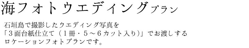 ウエディングフォトツアー 石垣島で撮影したwedding写真を「3面台紙仕立て(1冊・5~6カット入り)」でお渡しするロケーションフォトプランです